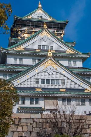 Close up view, looking up at Osaka Castle