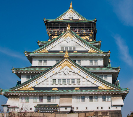 Close up view, looking up at Osaka Castle
