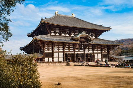 Todaiji Temple on a sunny winters morning in Nara, Japan.