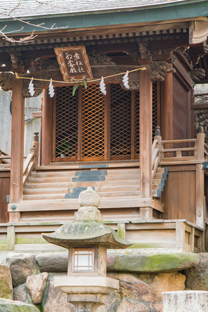 An outdoor shinto altar in the early morning winter.