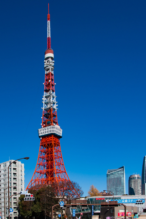View of Tokyo Tower against a clear blue sky