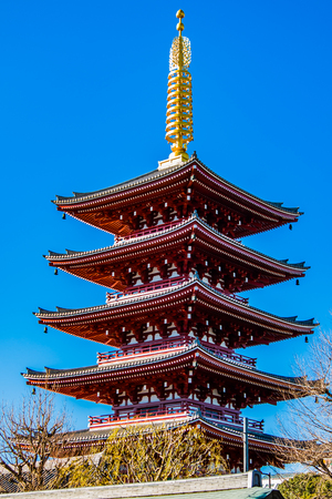 A red shinto pagoda against a clear blue sky.