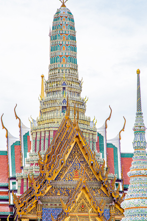 Highly ornate roof tops and spires with in Bangkok's Grand Palace complex