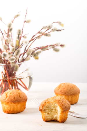 Branches of a willow and biscuits on a light background. A willow in a transparent glass vase, one biscuit is taken a bite, on a white wooden table the fork lies