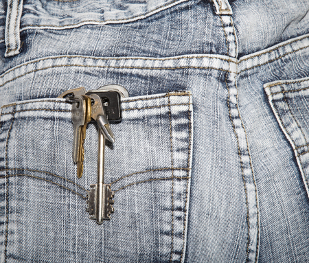 negligent: Bunch of keys in a hip-pocket of jeans. Close up Stock Photo