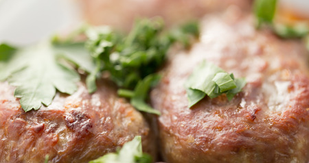 The meat cutlets strewed with green leaves of parsley. Close up, small depth of sharpness Stock Photo