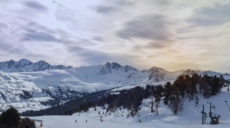 Rising in mountains in Andorra. View of the ski slope Stock Photo