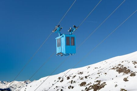 Service technical cabin of the cable car lift at the ski resort.