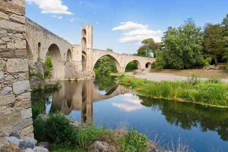 Romanesque defensive bridge over the Fluvia River in Besalu, Catalonia.