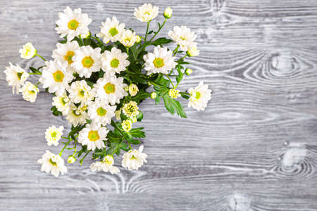 White bush chrysanthemums on a gray wooden table.