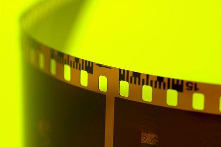 Film Strip on Yellow Background.