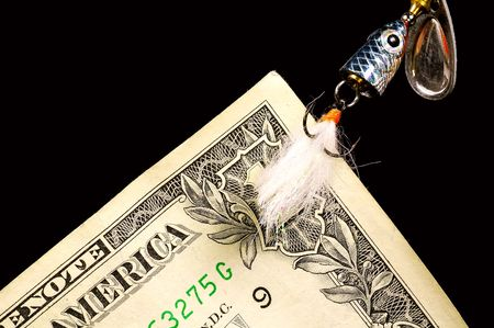 Dollar Bill on a Fish Hook photo