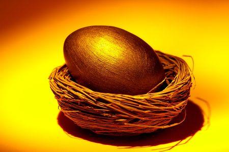 Gold Nest Egg Concept. photo
