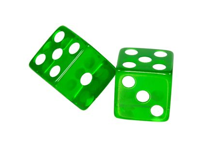 undefined: Photo of Green Dice - Clipping Path Included Stock Photo