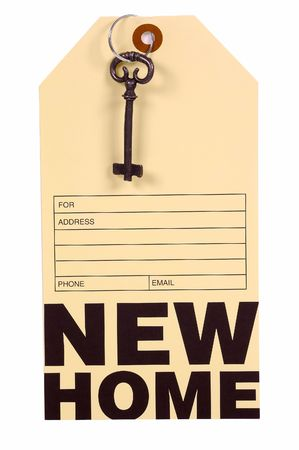 homeowner: New Home Address Tag and Key.  Real Estate Concept