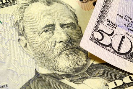 fifty dollar bill: President Grant on the Fifty Dollar Bill Stock Photo