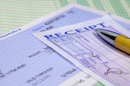 ballpoints: Receipt and a Pen Stock Photo