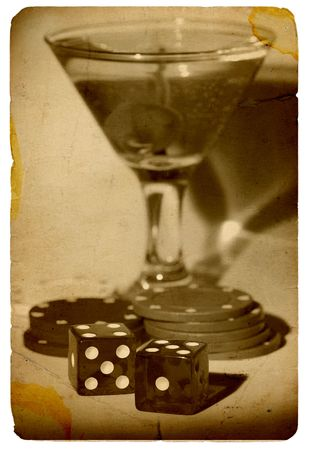 Martini and Dice - Vintage Photo Look Zdjęcie Seryjne