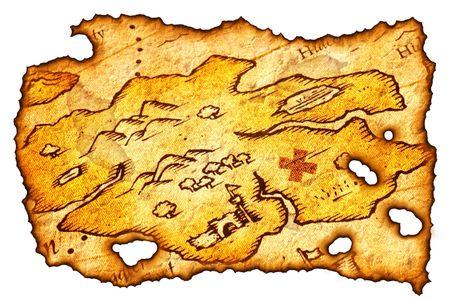 isla del tesoro: Pieza de un mapa del tesoro Quemado