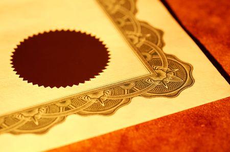 stock certificate: Foto de un Certificado de Sello y