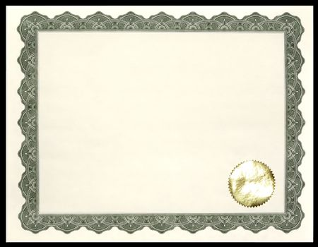 stock certificate: Blank Certificate  Award
