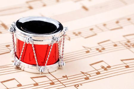 Drum Ornament and Sheet of Music - Christmas Concept