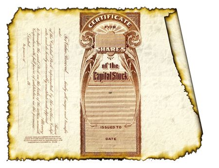 makelaardij: Verbrande Stock Certificate Stockfoto