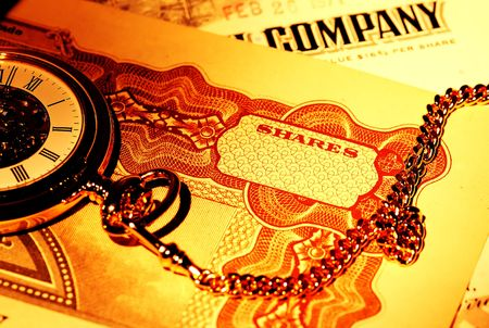 timing: Pocket Watch and Stock Certificates - Market Timing Concept