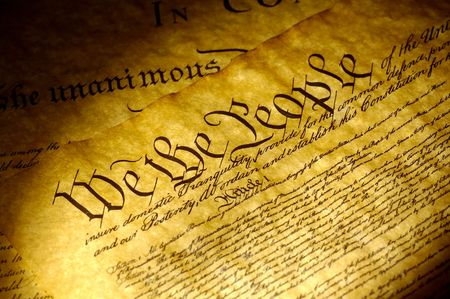 caligraphy: Spot Light on The Declaration of Independence Stock Photo