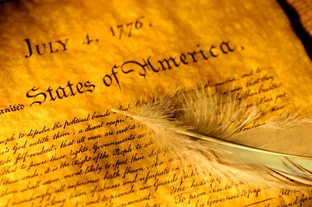declaration of independence: Declaration of Independence and a Feather Stock Photo