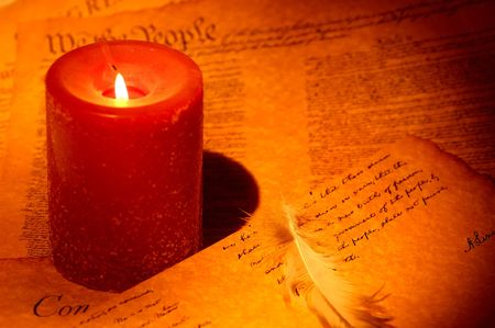 caligraphy: Candle With Documents and a Feather Stock Photo