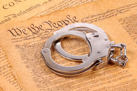 bill of rights: Bill of Rights and Hand Cuffs Stock Photo