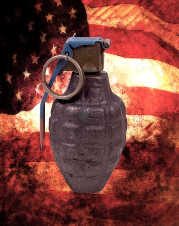 Grenades With American Flag Background Imagens