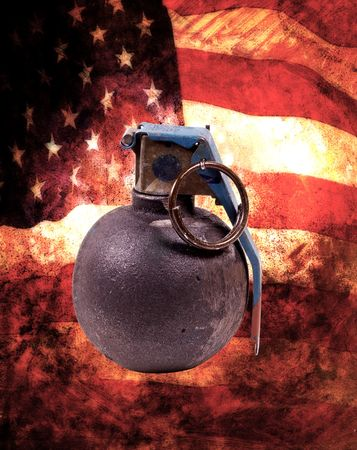 arsenal: Grenades With American Flag Background Stock Photo