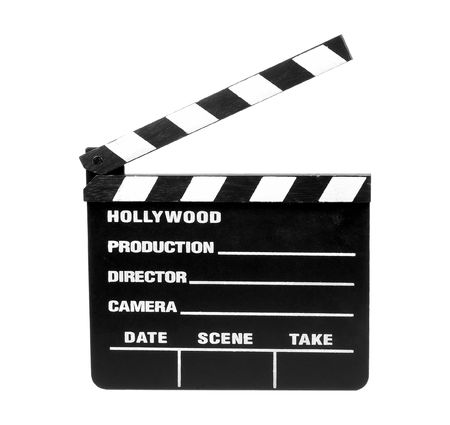 directors cut: Isolated Movie Slate - Clipping Path Stock Photo