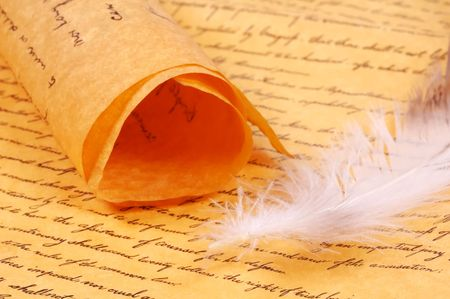 Parchment and a Feather Stock Photo - 278996