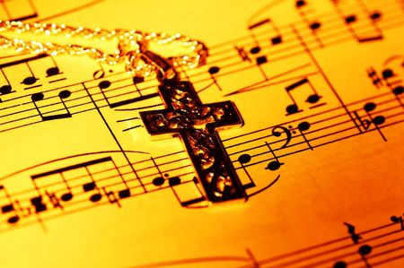 sheetmusic: Crucifix and Sheet Music