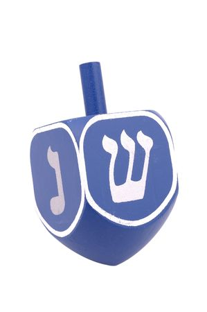 Isolated Blue Dreidel Archivio Fotografico