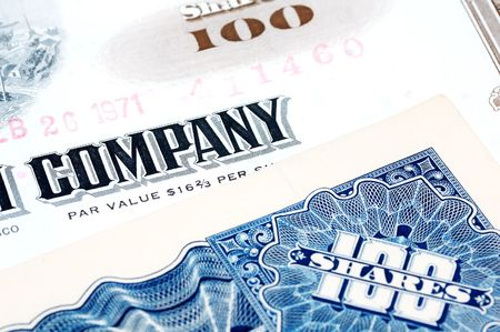 Company Stock Certificates Stock Photo
