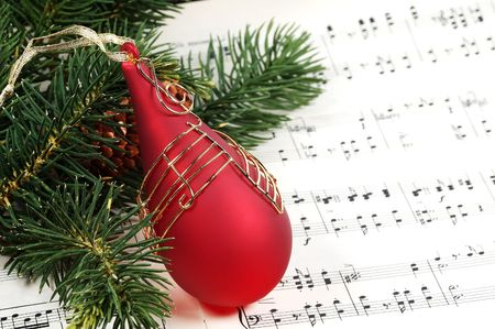 歌: クリスマスの飾りと楽譜