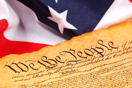 caligraphy: Constitution of the United States and American Flag