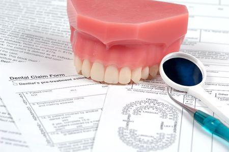 reimbursement: Dental Claim Form and Various Dental Instruments