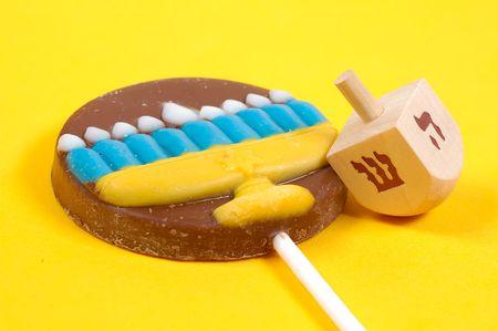 dreidel: Dreidel and Chocolate Lollipop