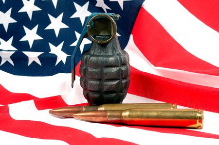 firepower: Grenade and American Flag Stock Photo