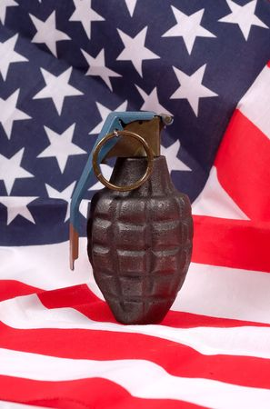 frag: Grenade and American Flag Stock Photo