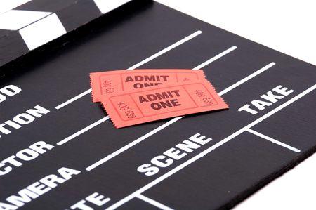 admit: Admit One Tickets on a Movie Clapboard