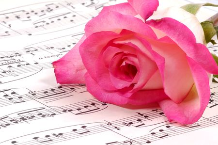 sheetmusic: Sheet Music and a Pink Rose