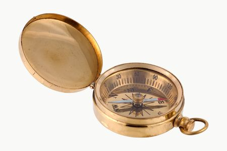 Isolated Brass Compass Stock fotó