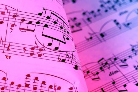 letras musicales: Hoja de la m�sica de fondo  Foto de archivo