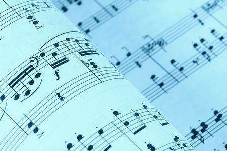 letras musicales: M�sica de la hoja en un tono ci�nico Foto de archivo